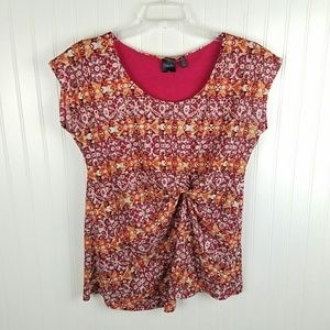Rafaella pink/orange tribal print top size XL
